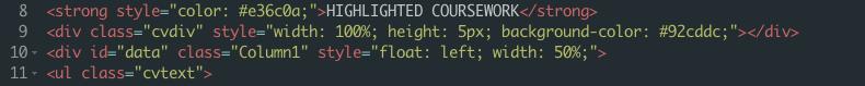 Column Code Snippet